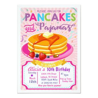 O aniversário dos pijamas das panquecas convida o convite 12.7 x 17.78cm