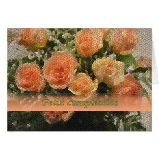 O aniversário espanhol telhou o cartão dos rosas
