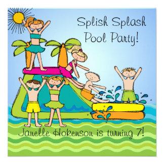 O aniversário feito sob encomenda da festa na pisc convites personalizados