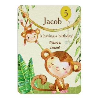 O aniversário feliz do macaco convida convite 12.7 x 17.78cm