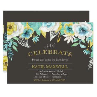 O aniversário floral da aguarela da cerceta & do convite 12.7 x 17.78cm
