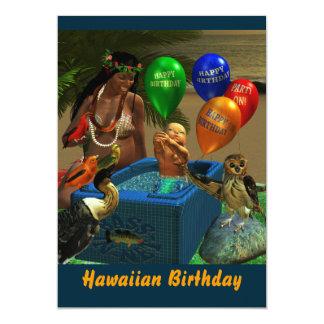O aniversário havaiano convida convite personalizados