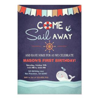 O aniversário Invation do marinheiro vem vela Convite 12.7 X 17.78cm