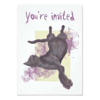 O aniversário legal do gato dos desenhos animados convite 11.30 x 15.87cm