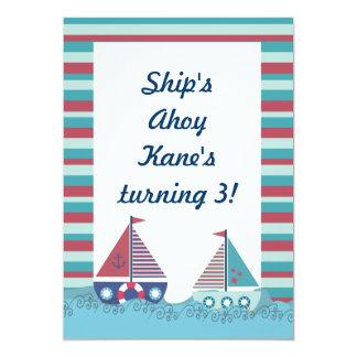 O aniversário náutico azul vermelho do barco de convite