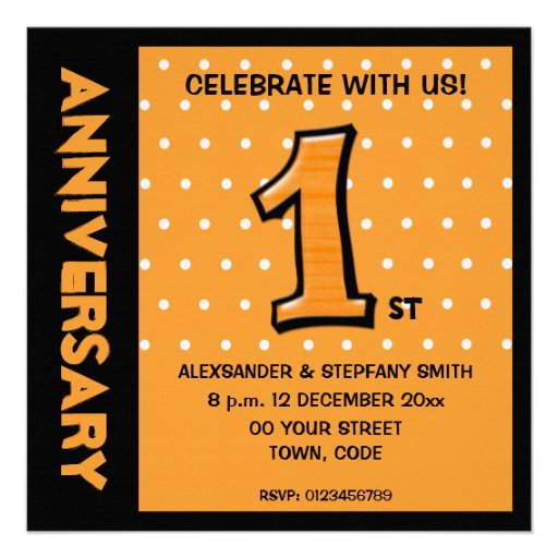 O aniversário parvo dos pontos da laranja do númer convites personalizado