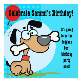 O aniversário personalizado do cão de filhote de convite quadrado 13.35 x 13.35cm
