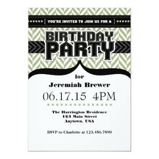 O aniversário preto branco de Herringbone do verde Convite 12.7 X 17.78cm