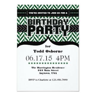 O aniversário preto branco verde escuro de convite 12.7 x 17.78cm