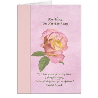 O aniversário, sobrinha, paz aumentou cartão comemorativo