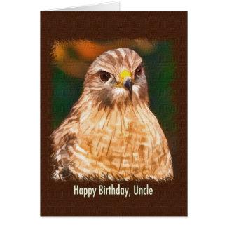 O aniversário, tio, Vermelho-empurrou o falcão Cartão Comemorativo