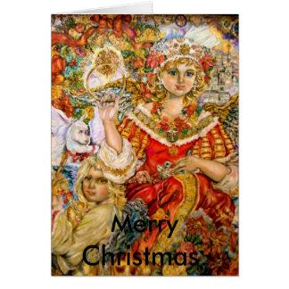 O anjo da poinsétia., Natal alegre Cartão Comemorativo