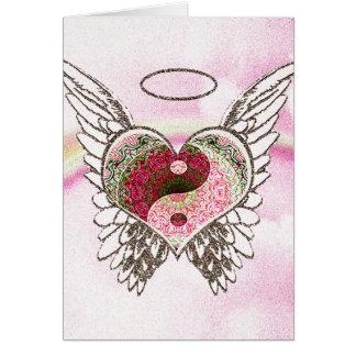 O anjo do coração de Yin Yang voa a aguarela Cartão Comemorativo