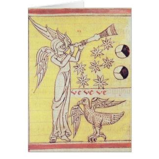 O anjo que funde a trombeta cartão comemorativo
