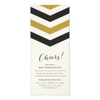 O ano novo das listras de Chevron convida Convite 10.16 X 23.49cm