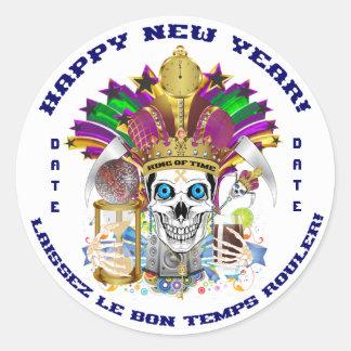 O ano novo do carnaval personaliza notas da vista adesivos em formato redondos