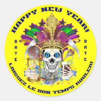 O ano novo do carnaval personaliza notas da vista adesivos redondos