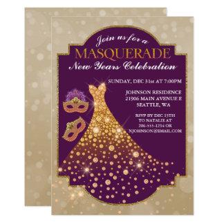 O ano novo elegante do convite do mascarada