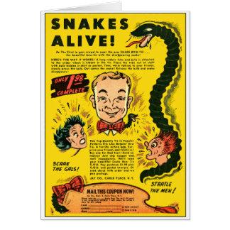 O anúncio cómico do kitsch retro do vintage serpen cartão comemorativo