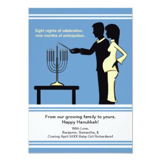 Cartão O anúncio da gravidez de Hanukkah carda 5x7
