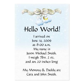 O anúncio do bebê nubla-se o cartão cartão de visita grande