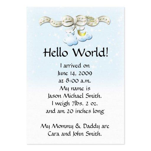 O anúncio do bebê nubla-se o cartão modelo cartoes de visitas