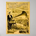 O anúncio do vintage do fonógrafo do concerto de E Posteres