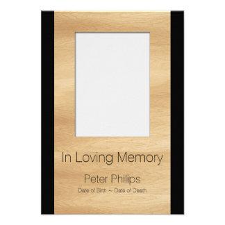 O anúncio fúnebre do modelo de madeira do quadro convite 9.52 x 12.7cm