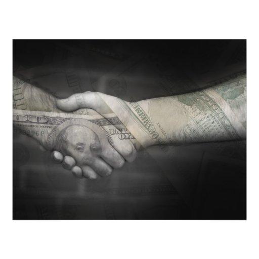O aperto de mão do dinheiro panfleto personalizado