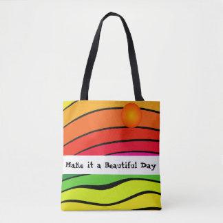O arco-íris colore o bolsa colorido da praia do
