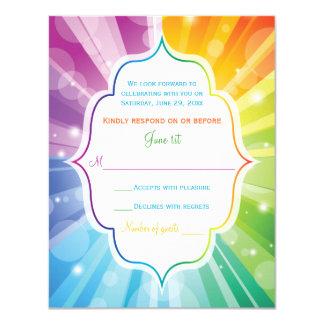 O arco-íris colore Sunburst listrado que Wedding o Convite 10.79 X 13.97cm