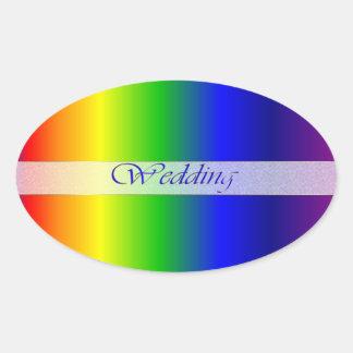 O arco-íris do casamento colore a etiqueta oval adesivo oval