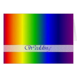 O arco-íris do casamento colore o cartão