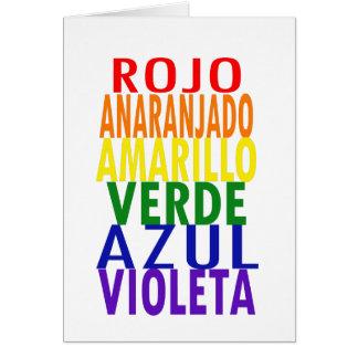 O arco-íris espanhol colore o cartão