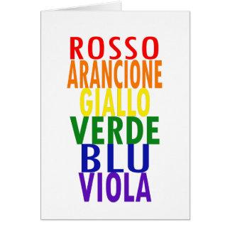 O arco-íris italiano colore o cartão
