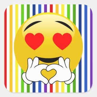 O arco-íris listra etiquetas de Emoji do olho do