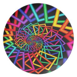 O arco-íris molda a placa da melamina prato de festa