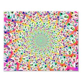 O arco-íris psicadélico Eyes a mandala Impressão De Foto