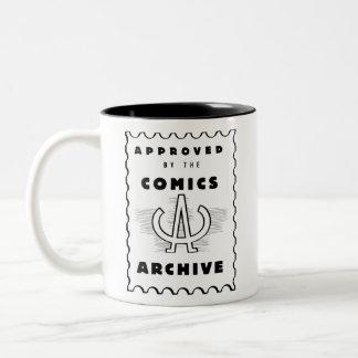 O arquivo da história em quadrinhos caneca de café em dois tons