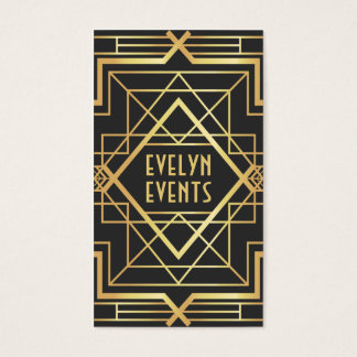 O art deco corajoso retro do preto e do ouro molda cartão de visitas
