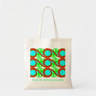 O art deco do verde azul de néon e dos vermelhos bolsa para compras