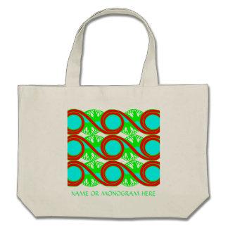 O art deco do verde azul de néon e dos vermelhos v bolsa para compras