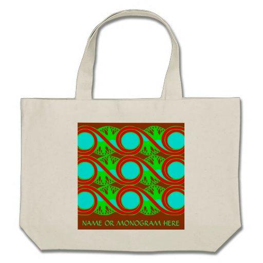 O art deco do verde azul de néon e dos vermelhos v bolsas