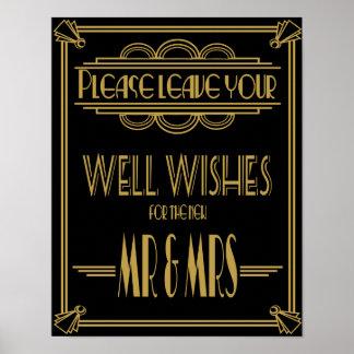 O art deco que Wedding o ouro do sinal e os Poster