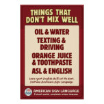 O ASL & os ingleses não misturam Posteres