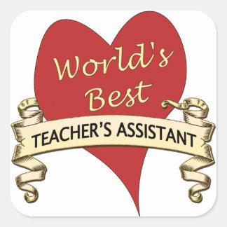 O assistente do melhor professor do mundo adesivo quadrado