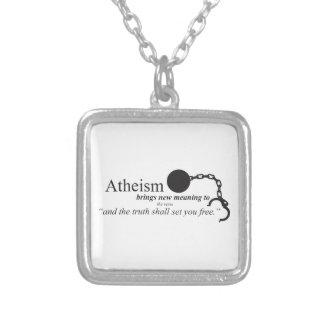 O ateísmo traz o significado novo colar com pendente quadrado