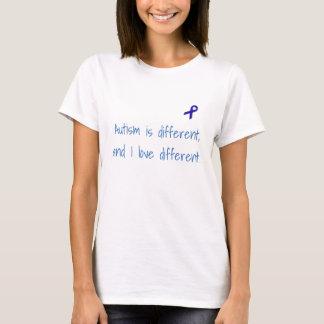 O autismo é diferente, e eu amo a camisa diferente