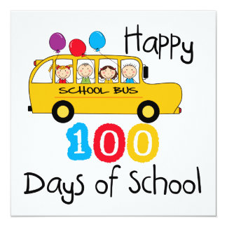 O auto escolar comemora 100 dias convite quadrado 13.35 x 13.35cm