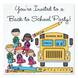 O auto escolar de volta ao aniversário da escola convite quadrado 13.35 x 13.35cm